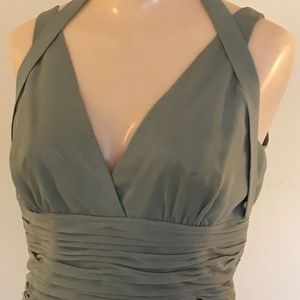 Light Green Pleated Chiffon Dress